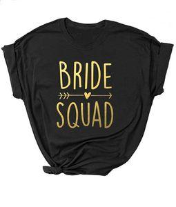 Unisex Shirt Bride Squad Arrow Heart T-Shirt Feminine Slogan Women Tops Girl Tees Couple Tops Black Fit Bachelorette Bride Party