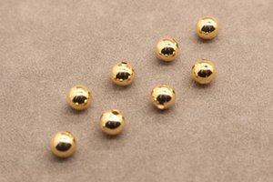 24K Gold Filled Beads 3-6mm Round Gold Branelli allentati distanziatore fai da te lega braccialetto di perle accessori gioielli collana