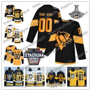 Pittsburgh Penguins NUEVA MARCA Personalizada Cualquier Número Nombre hombres mujeres jóvenes Serie de Estadio Negro Amarillo Blanco DeSmith Crosby Malkin Hockey Jersey