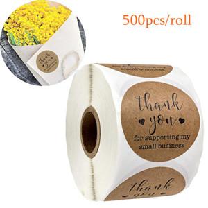 Kraft Paper Tag Obrigado apoiando meu Small Business Stickers Seal Etiquetas 500pcs presente de Natal DIY Adesivo Decoração