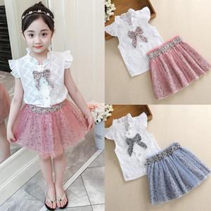 2020 Girls Clothes Sleeveless Bow Shirt Tops Leopard Print Gauze Skirt Outfits Set Baby Girl Clothes roupa infantil menina