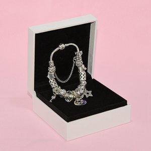 Браслет шарма способа шарика для Pandora ювелирных изделий Silver Star Moon Подвеска из бисера Lady Браслет с оригинальной коробке подарка дня рождения