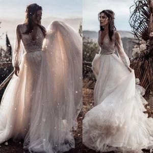 Bohemian Abiti da sposa con la cinghia un cavo a due pezzi a maniche lunghe Appliqued merletto Boho sposa abiti sweep treno Tulle Beach abito da sposa 4543