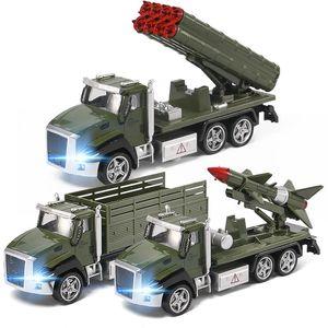 LD Diecast Alaşım askeri kamyon modeli Oyuncak, füze araç, roket araba, ses ile Lingts, geri çekin, süs, Noel çocuk doğum günü hediye, 6618
