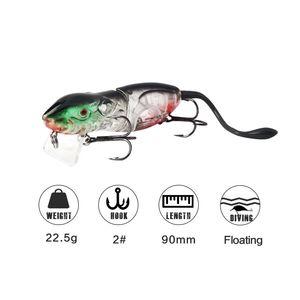New Lifelike mouse gamefish Topwater Popper Fishing lure 22.5g 9cm 2segments floating Swimming 3-D Realistic Rat baitfish