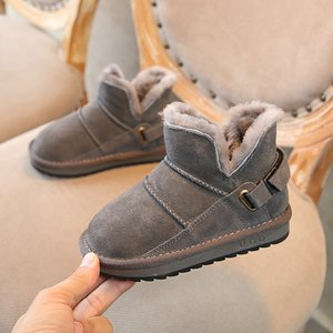 Children's shoes winter models children's snow boots leather thick warm boys casual boots girls cotton boots