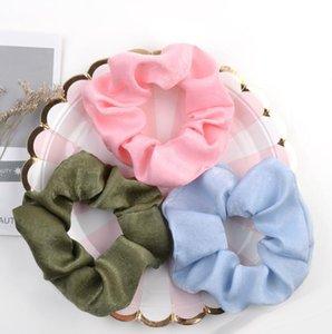 2020 neue Frauen-Mädchen arbeiten Kreative reinen Farben-Haar-Seil-Zubehör Glatten Darms Haar-Kreis-Band-Stirnband-elastische Band-Haar-Acc