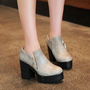حذاء اللباس المتضخم 11 12 13 14 15 السيدات عالية الكعب النساء امرأة مضخات مستديرة الرأس العميق واحد
