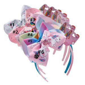 INS Mädchen Einhorn Hair Kinder Boutique-Haar beugen Sticks Regenbogen-Karikatur-Druck-Stirnband-Band-Kopfbedeckung mit Tag Haarschmuck New