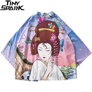 2019 Japanese Kimono Jacket Butterfly Geisha Print Harajuku Hip Hop Men Japan Style Streetwear Jackets Summer Thin Clothes Loose