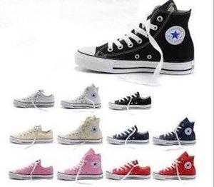 EUR35-46 الخمس نجوم العليا أعلى أحذية عارضة منخفض أعلى نمط نجوم الرياضة تشاك كلاسيكي نوع خيش حذاء حذاء رياضة conve أحذية رجالية المرأة قماش دورب السفينة