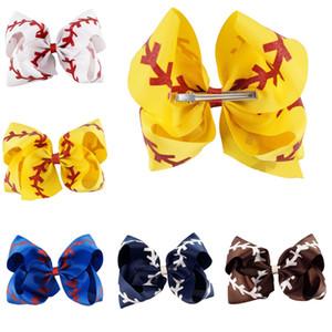 7 polegadas Jumbo Softball Bow Glitter Bow beisebol com rabo de cavalo titular Cheerleading Arcos Para bonito Sports Cheerleader menina FJ368
