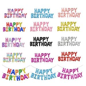 (12) 어린이 어른 생일 파티 장식 소년 소녀 알파벳 풍선을위한 스타일 16 인치 HAPPY BIRTHDAY 편지 호일 풍선 배너 세트