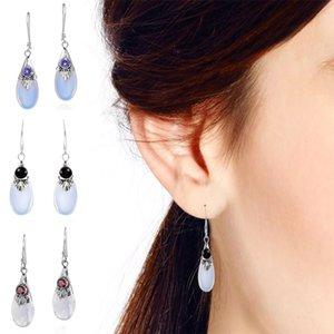 I più venduti Novità orecchini 3-colore bianco pietra di luna, europea ed orecchini americani gioielli a forma di pera a goccia gioielli orecchio