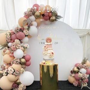 100pcs pasta di fagioli Macaron White Party palloncini decorazione Ghirlanda Arch Kit Metallic Gold Ballon Decorazione, Scenografia, Baby Shower CY200522
