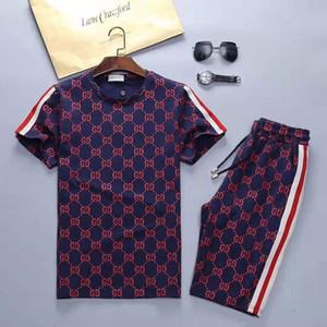 CUCI letra marca de moda clássico bordados Medusa de manga curta T-shirt da forma T-shirt ocasional de manga curta camisa Polo conjunto dos homens T-shirt