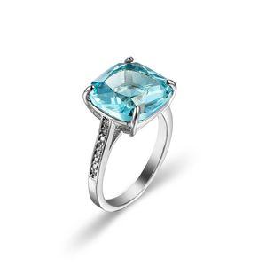 Venta al por mayor Cluster plaza de topacio azul cielo piedra preciosa de los anillos de 5 porción de las PC 925 del anillo de bodas de plata de ley regalo de la joyería EE.UU. Tamaño 6-10 #