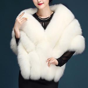 chal de novia párrafo de la moda de gran tamaño abrigo de piel de las mujeres de piel artificial blanca chaleco de imitación de la capa de color rosa PC231