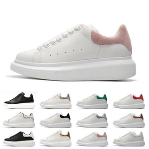 Mens Womens Blue Velet Back Platform Sneakers White Genuine Leather Trainers Comfort Pretty Girl Wholesale Style Casual Shoes Size 36-45