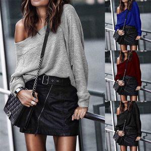Designer Outono Inverno Womens T-shirts Sexy de Slash Long Neck Sleeve Tops Womens Moda Casual solta Tees