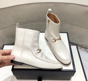 kısa botlar Flat fermuar Kadının Deri Tasarımcı Martin botları Yüksek kaliteli sığır derisi Metal toka lüks kadın ayakkabı bot Boyutu 35-41 dipli