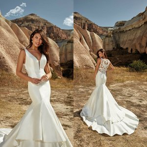 Eddy K 2021 Wedding Dresses V Neck Button Back Beach Bridal Gowns Custom Made Appliques Lace Satin Sweep Train Mermaid Robe De Soiree