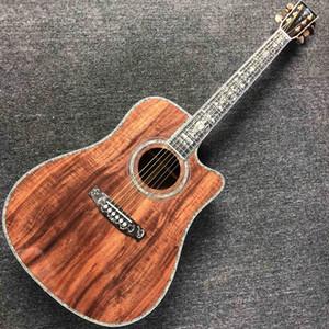 Custom Cutaway Solid KOA Wood Acoustic Guitar Ebony Fingerboard KOA Back Side Abalone Inlay With Pickup Electronic Fishman EQ Free Shipping