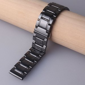 Black Polished Ceramic Watch bands strap bracelet 20mm 21mm 22mm 23mm 24mm for Wristwatch mens lady accessories quick release pin spring bar