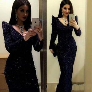 2020 élégant col en V manches longues Paillettes robes de soirée en dentelle droite robe de bal noire Robe De Festa Plus Size