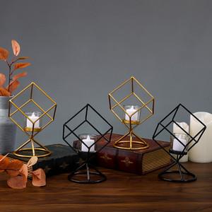 1pc Kerzenhalter Dekoration Startseite Nordic Light Luxus Romantisches Abendessen bei Kerzenschein Props Eisen Glas Kerze Cup Candle Light Pan