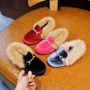 Bambini Ragazza scarpe calde pelle scamosciata Appartamenti PU Principessa Soffici Scarpe Inverno Bambini pelliccia pattini di bambino di marca nero Warm Mocassino Moda Mocassini