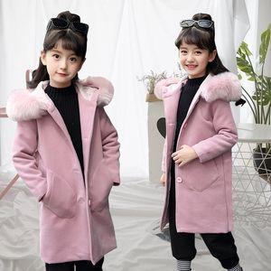 2020 Autumn girl in the big woolen Coat wool Jacket wool jacket length children woolen coat
