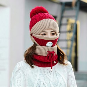 Winter New Women's Warm Pure Color Plus Thicken Scarf Mask Hat Three-Piece Knit Windproof Cap Women Fashion Keep Soft Hats