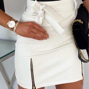 Donne Gonna a vita alta Solid Zipper Mini Pencil Skirt Casual estate delle signore di modo di alta qualità sottile dell'anca M140 Sexy Breve #