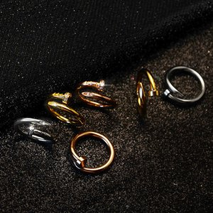 Size6-9 الفولاذ المقاوم للصدأ الذهب وخواتم الأظافر مع الماس ارتفعت أعلى جودة الفضة عشاق الذهب فرقة خواتم النساء والرجال خواتم زوجين مع مربع