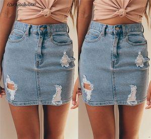 Moda Street Women Denim Falda de cintura alta Sexy Bodycon Lápiz Ripped Frayed Mini Falda Jeans Falda Hot New Wear
