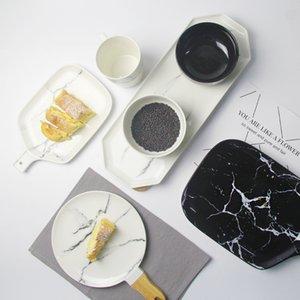 Padrão de mármore de cerâmica louça de porcelana Placa Dish Platter bacia Cortador Conselho Dinnerware Set T200430