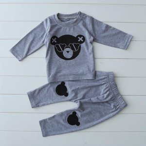 2020 new cute baby boy girl clothes cotton baby boy set long sleeved clothing printed t-shirt+pants 2pcs set R1106