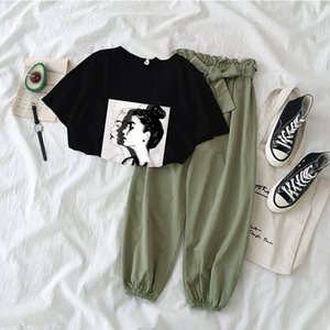 7 colors Printed girl Tshirt tops and pants two piece set women fashion outfits casual 2 Piece Suit Korean clothing summer 2020 CX200702