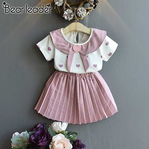 Bear Leader Girl Children's Sets 2020 New Summer Kids Girls Cute Clothes Heart Print T-shirt and Skirt 2pcs Outfit For Girl 3 7Y