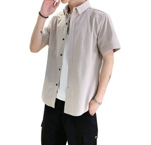 2020 Men Shirt Short Sleeve 100% Cotton Summer Loose Casual Street Shirts Tuxedo Formal Fashion Dress Brand Shirt Office Business