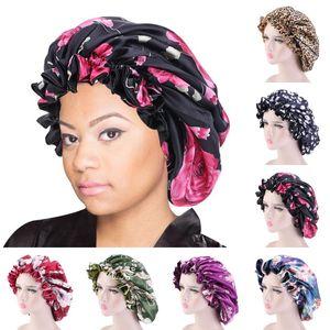 DHL shipping Satin Sleep Cap for Women Home Fashion Floral Elastic Satin Double Layered Round Bonnet Nightcaps Head Wrap 8 Styles L206FA