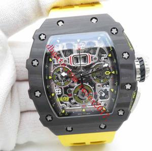 Men's Luxury = KV Factory RM011-03 Chronographe de flyback automatique Asie 7750 Valjourx Montre Squelette Squelette forgé Carbon Case jaune ventilée