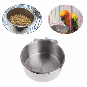 Acciaio inossidabile Parrot mangime per uccelli Blowl Hamster Cage Coppa Ciotola Cena tavola accessori per la casa Hanging Cage 10cm YQ01069