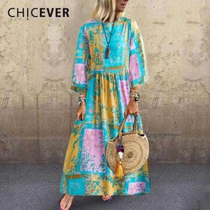 CHICEVER Vintage Printed Dress Women Long Sleeve Casual Maxi Dresses Female Loose Clothes Big Size 2020 Spring Summer New