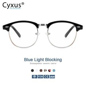 Cyxus Karşıtı Mavi Işık Bilgisayar Gözlük Erkek Kadın Gözlükler 8056 için Karşıtı Göz yorgunluğu UV için Yarı çerçevesiz Browline Çerçeve