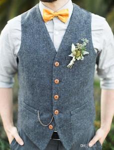 Grey lana sposo Gilet 2020 Farm Wedding Party Attire Groomsmen squadra Vest Slim Fit Uomo vestito di vestito da promenade Garden Country Abito Gilet