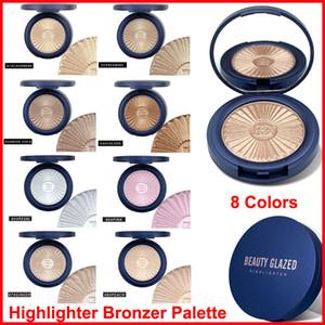 Beauty Verglaste Highlighter Puder-Palette Bronzer Contour Glow Lidschatten Rouge Makeup Gesicht Shimmer Haut aufhellen Illuminator 8 Farben Hot