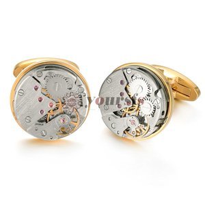 Yoursfs Часы Движение Запонки Для Недвижимого Стимпанк Шестерни Часы Механизм Запонки Для Мужчин