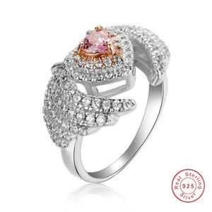 Cuore rosa Birthstone 925 Sterling Silver ring donne Angelo Ala Ri Fidanzamento Monili di cerimonia nuziale formato 5-10